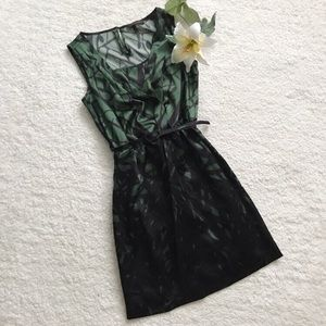 The limited green black Belted career dress